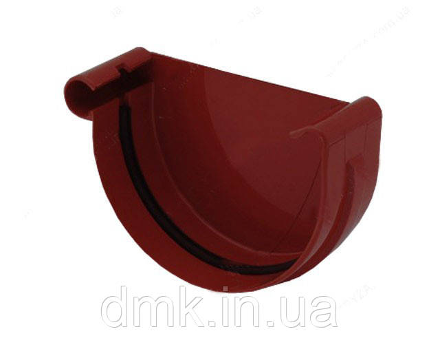 Заглушка желоба левая водосточной системы Бриза (Bryza) 125 мм красный