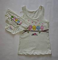 Детский комплект трусики+маечка  белья на девочку Donella светло зеленый с птичками.2-3 года.