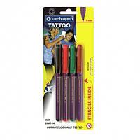 Маркеры Centropen Tattoo 1мм + трафарет, набор 4 цвета, 2880
