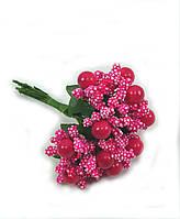 """""""Тычинки с бусинкой"""" малиновые, искусственных на розетке листьев (1 набор - 12 веточек ), фото 1"""