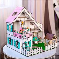 """Кукольный домик NestWood """"ЛЕТНИЙ"""" для кукол LOL (ЛОЛ), 5 комнат (этаж 15см)+ Мебель 9 ед."""