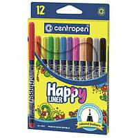 Маркер линер Centropen HAPPY 0.3 мм, набор 12 цветов, 2521
