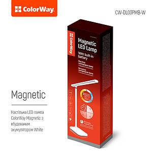 Лампа настольная LED Magnet со встроенным аккумулятором  (Белая) ColorWay