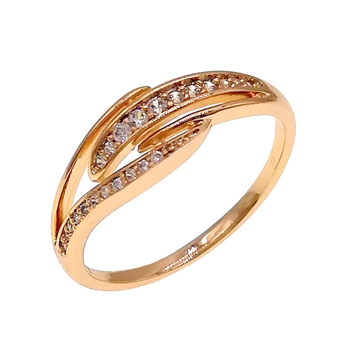 Кільце Xuping з медичного золота, білі фіаніти, позолота 18K, 11876 (18)