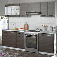 Vicco кухня Raul, кухонный блок, мебельный комплект для кухни, 240 см, цвет белый, Дакар