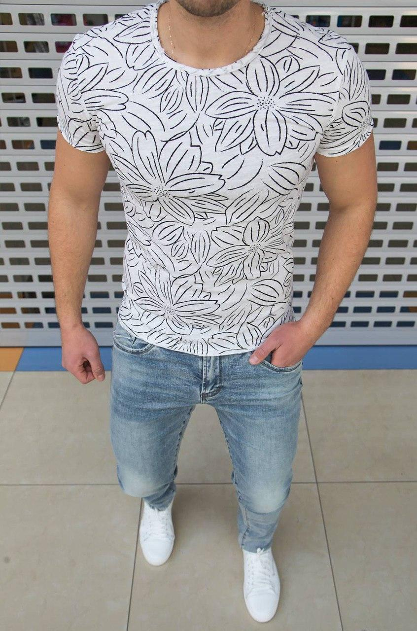 Мужская футболка в цветочный принт H0424 белая