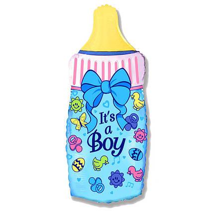 Фол шар фигура Бутылочка с бантиком It's a boy Голубая (ФМ), фото 2