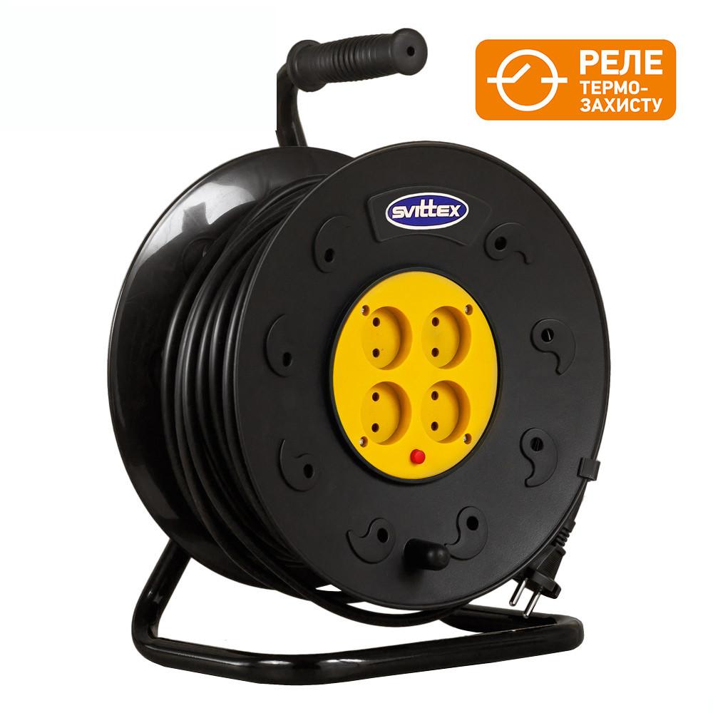 Удлинитель SVITTEX на катушке 50 м  с сечением провода 2х1,5 мм² и термозащитой!