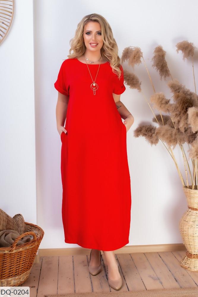 Батальное длинное повседневное платье бохо размеры 50-60 красное