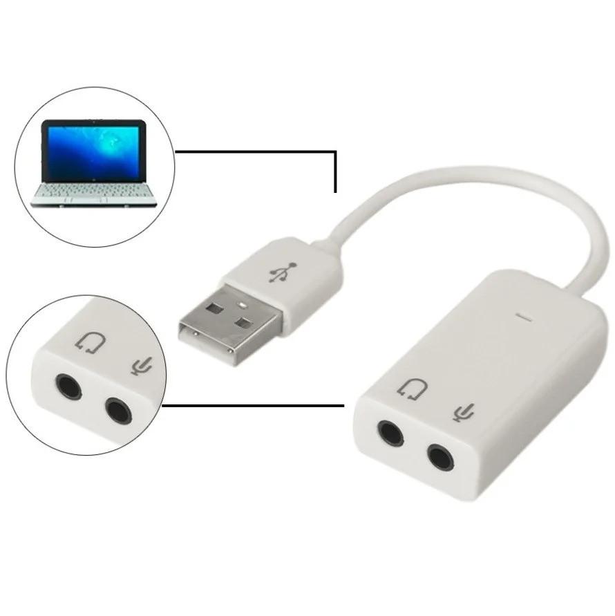 Внешняя звуковая карта Lesko USB 7.1 аудио адаптер для наушников и микрофона
