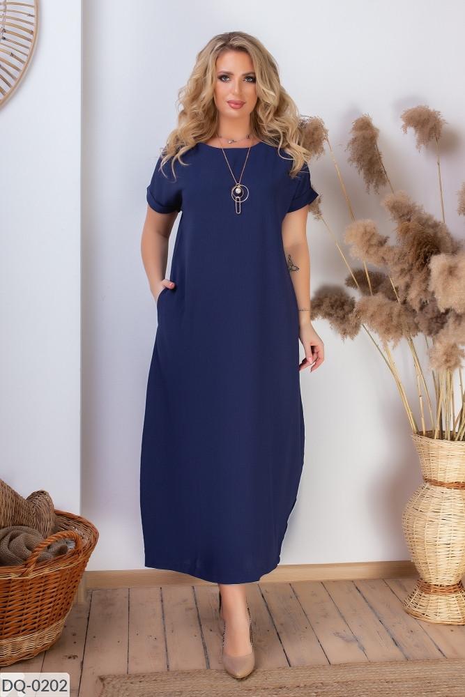 Батальное длинное повседневное платье бохо размеры 50-60 синее