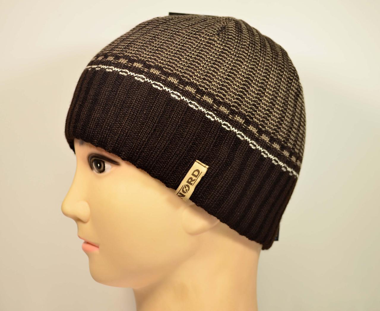 Мужская вязанная шапка на флисе, оптом, Nord
