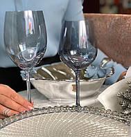 Бокалы для вина  серебристого цвета из стекла 550мл Голд  Живая вода