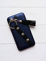 Брелок-подвеска на телефон кисть черная с тесьмой никель (129209)