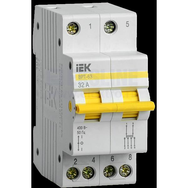 Выключатель-разъединитель трёхпозиционный ВРТ-63 2P 32А IEK