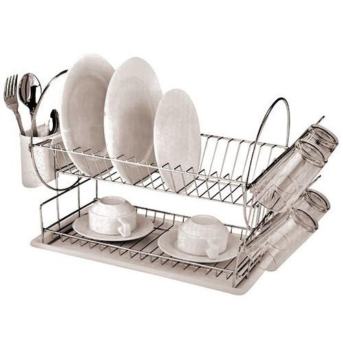 Настольная сушилка для посуды сушка 2 яруса с поддоном Stenson MH-0534 Compass 42х23х33 см Хром