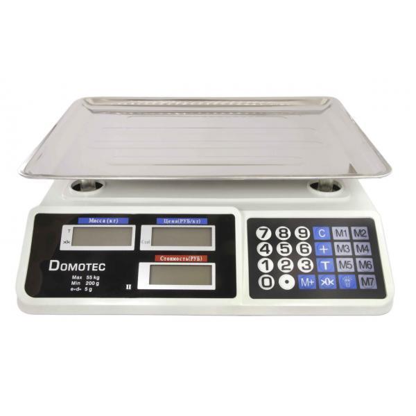 Электронные настольные торговые весы до 55 кг со счетчиком цены Domotec DT-809