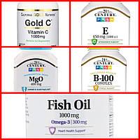 Комплекс витаминов для иммунитета C, E, Магний, B-100, Omega-3, 21st century, california nutrition gold