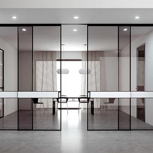 Интерьерные раздвижные системы и перегородки из алюминия и стекла графит