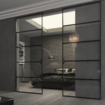 Интерьерные раздвижные системы и перегородки из алюминия и стекла, фото 2