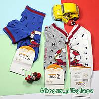 Носочки короткие детские на лето весну для мальчиков морская тематика BROSS 9315 34-36