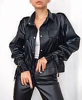 Куртка женская трендовая демисезонная из эко кожи на кнопках с карманами Gff1181