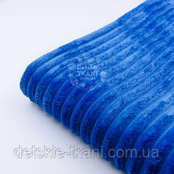 Відріз плюшу в смужку Stripes синього кольору, розмір 100*80 см