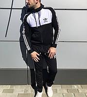 Костюм чоловічий весняно-осінній Adidas чорний з білим (репліка)