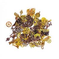 Мини-подвески шармы микс под золото, 100 шт