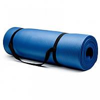Коврик для фитнеса, каремат 8 мм с фиксирующей резинкой синий