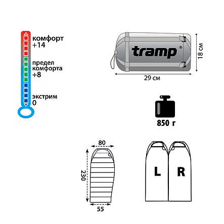 Ультралегкий спальный мешок Tramp Mersey оранж/серый R, фото 2