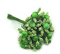 """""""Тычинки с бусинкой"""" зеленые, искусственных на розетке листьев (1 набор - 12 веточек )"""