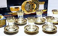 Подарочный Набор Для Турецкого Чая 6 стаканов + 6 блюдец Греческий Узор  (EAV03V-381/4201/S)