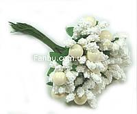 """""""Тичинки з бусинкою"""" білі, штучних на розетці листя (1 набір - 12 гілочок ), фото 1"""