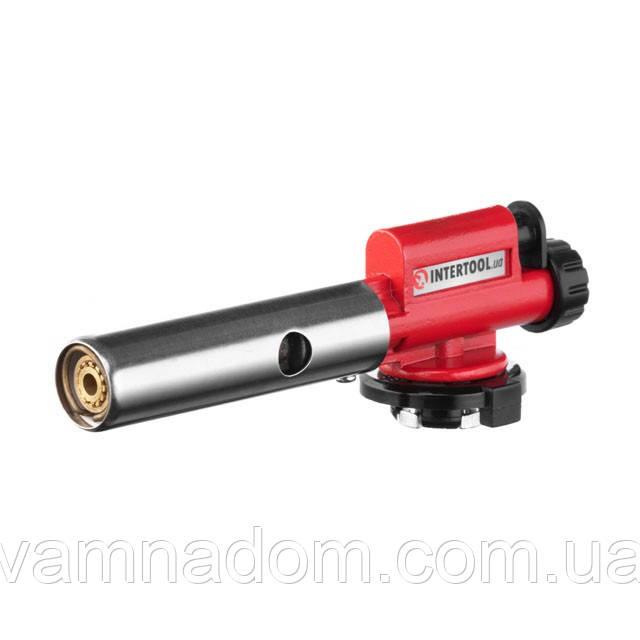 Горелка газовая, пьезозажигание, регулятор, цельнометаллический корпус. INTERTOOL GB-0027