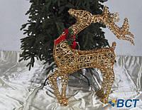 Светящаяся фигурка под елку Олень 75 см золотой
