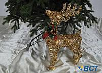 Светящаяся фигурка под елку Олень 40 см золотой