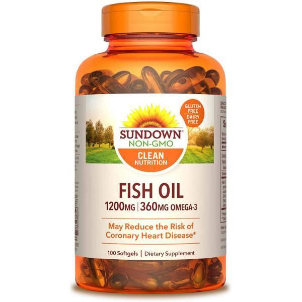 Sundown Рыбий жир экстра в капсулах 100 шт Fish Oil Extra Strength 1200 mg 100 Softgels