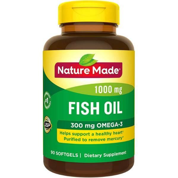 Nature Made Рыбий жир с Омега-3 1000 мг 90 мягких таблеток Fish Oil 1000 mg Softgels 90 Count