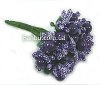 """""""Тичинки з бусинкою"""" темно фіолетові, штучних на розетці листя (1 набір - 12 гілочок )"""