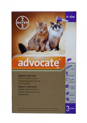 Капли Bayer Advocate от заражений эндо и экто паразитами для котов 4-8 кг (3 пипетки по 0.8 мл), фото 2