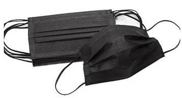 Одноразовая защитная маска повышенной плотности черная трехслойная, с фиксатором на переносице, 1шт