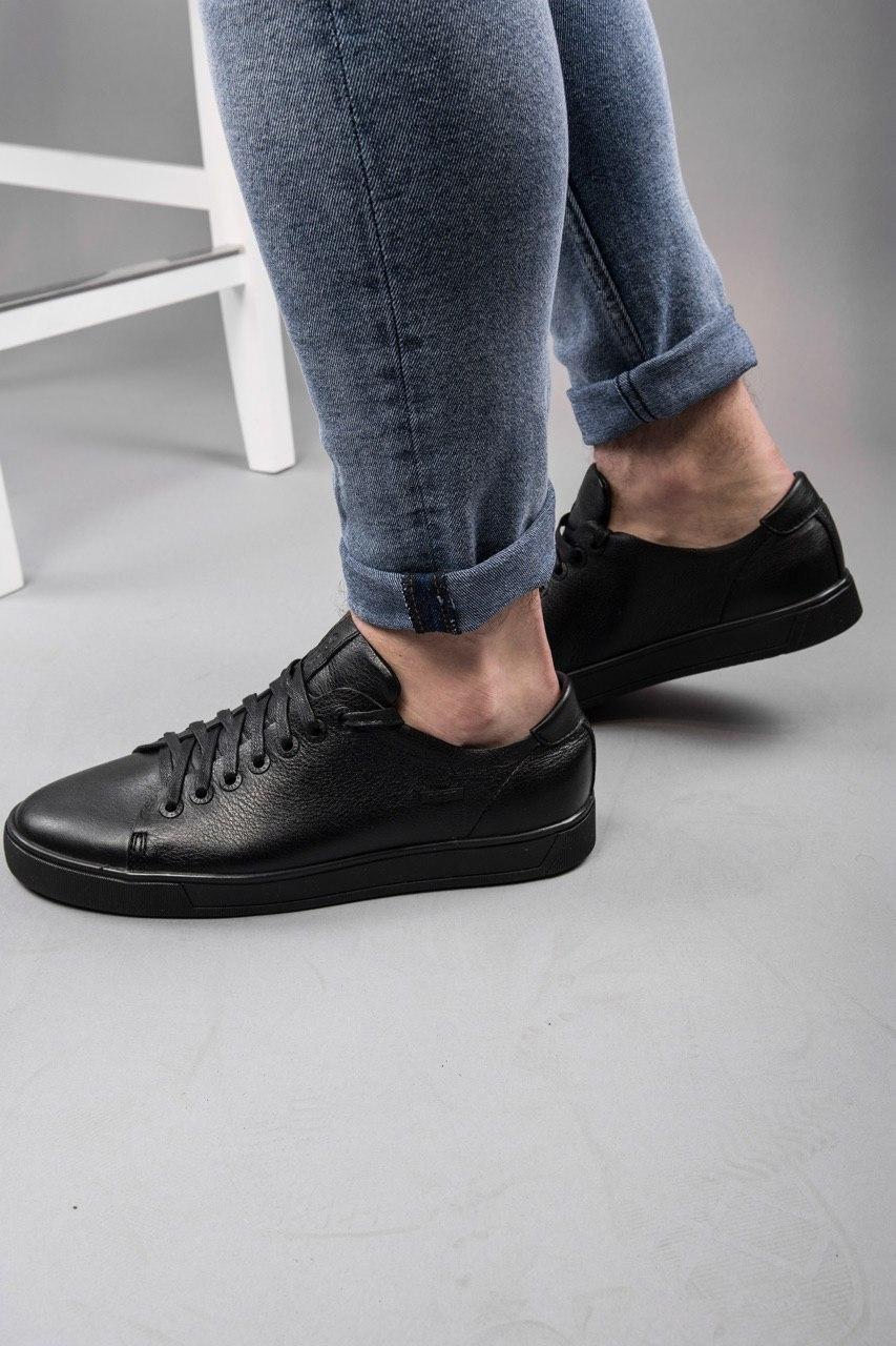 Мужские кроссовки кожаные luis-3 black