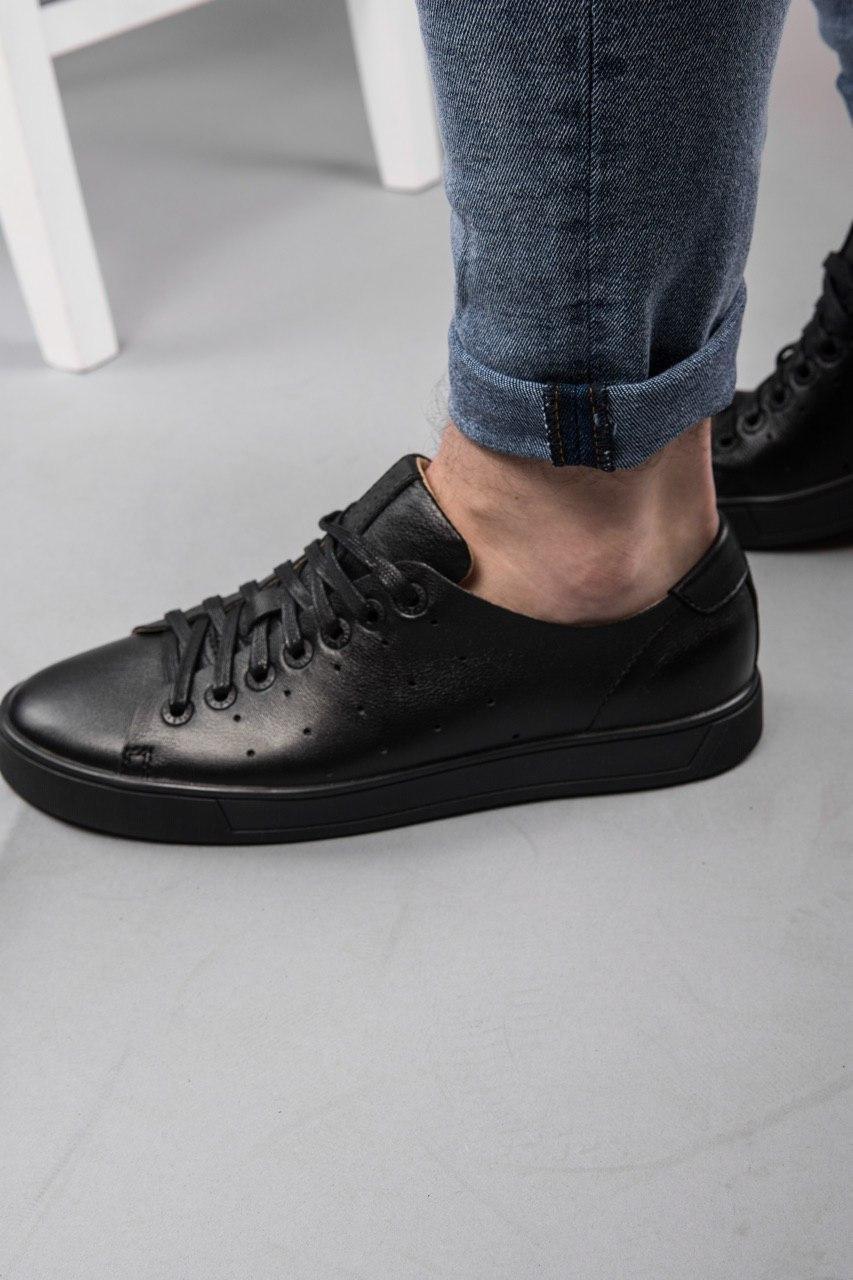 Мужские кроссовки кожаные luis black