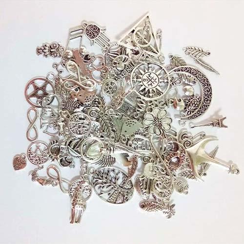 Набор из 100 металлических подвесок шармов шармиков, смешанные, серебро