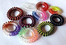 Гумки пружинки для волосся 10 шт маленькі 4 см, кольорові смугасті
