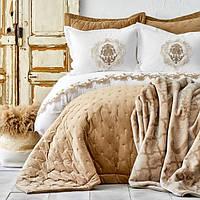 Набор постельное белье с покрывалом + плед Karaca Home - Chester 2020-1 bej бежевый евро