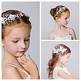 Гілочка віночок з перлами і квітами в зачіску тіара гребінь обідок, під срібло, фото 7