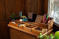 Настольный органайзер для офиса / телефона / планшета / ручек / бумаг / на 6 модулей из дерева