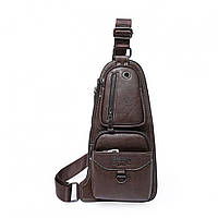Кожаная мужская сумка через плечо Jeep 777 Bag коричневая, фото 1